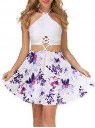 Floral Print Criss Cross Backless Dress