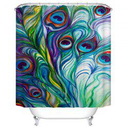 Peacock Feather Thicken Polyester Waterproof Bath Shower Curtain