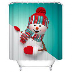 Christmas Snowman Mildewproof Waterproof Bath Shower Curtain