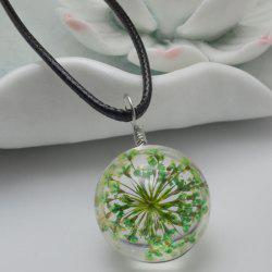 Dried Flower Heady Glass Ball Pendant Necklace