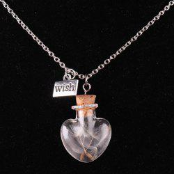 Dandelion Heart Bottle Necklace