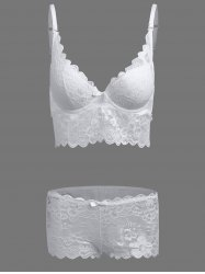 Floral Applique Scalloped Padded Push Up Bra Set