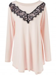 Plus Size Lace Panel Long Asymmetric T-Shirt