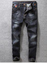 Distressed Cat' s Whisker Appliques Jeans