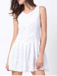 Round Neck Lace Mini A Line Skater Dress - WHITE