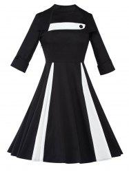 Long Sleeve Fit and Flare Swing Vintage Dress -