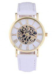 Faux Leather Gear Analog Watch - WHITE