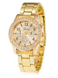 Rhinestone Metal Analog Wrist Watch - GOLDEN