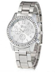 Rhinestone Metal Analog Wrist Watch - SILVER