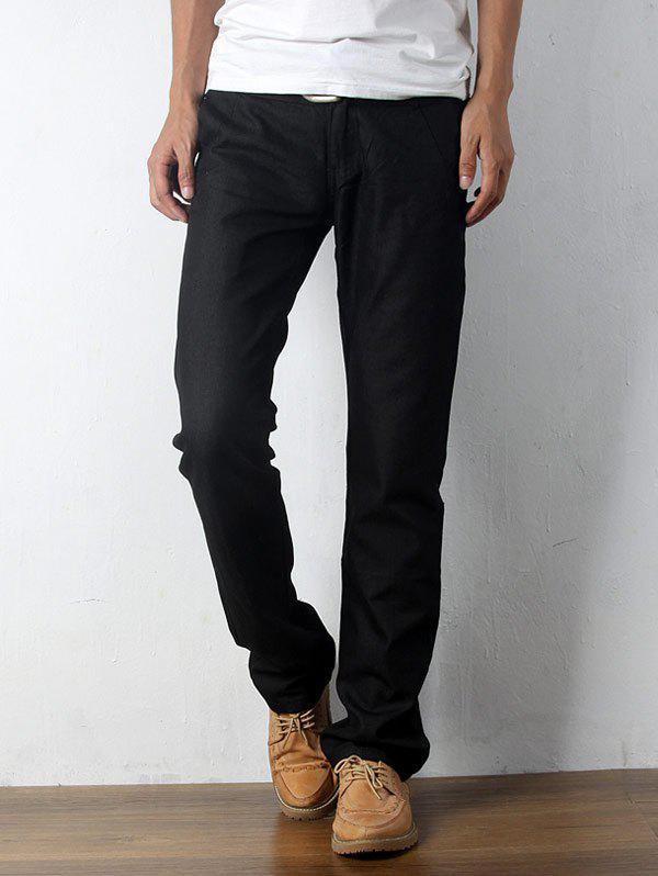 Affordable Zip Fly Straight Leg Casual Pants