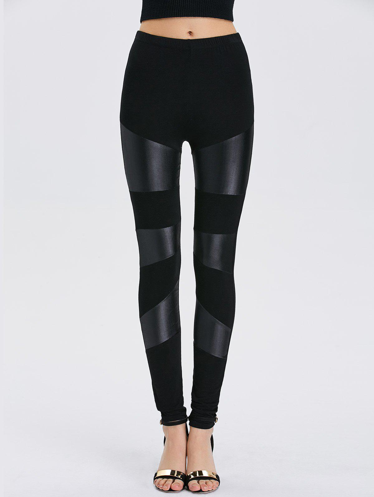 Faux Leather Bodycon LeggingsWOMEN<br><br>Size: ONE SIZE; Color: BLACK; Style: Punk; Material: Spandex; Waist Type: High; Pattern Type: Patchwork; Weight: 0.2000kg; Package Contents: 1 x Leggings;