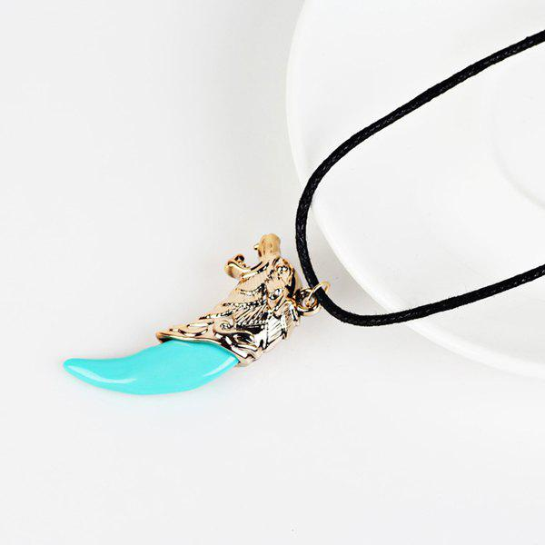 Adjustable Wolf Pendant NecklaceJEWELRY<br><br>Color: CYAN; Item Type: Pendant Necklace; Gender: For Women; Necklace Type: Rope Chain; Metal Type: Alloy; Style: Trendy; Shape/Pattern: Animal; Length: 45.3CM-75.3CM; Weight: 0.040kg; Package Contents: 1 x Necklace;
