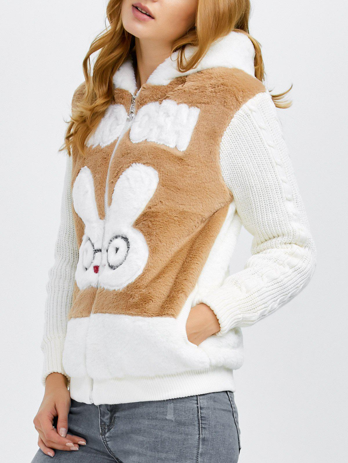 Store Bunny Head Hooded Fuzzy Coat