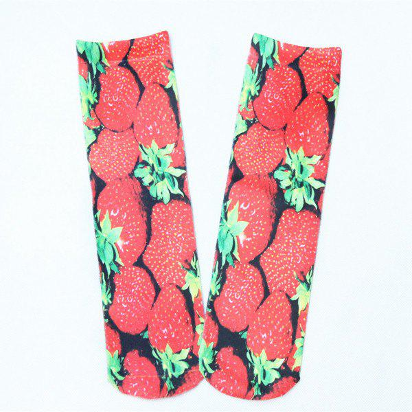 Online Strawberry 3D Printed Crazy Socks
