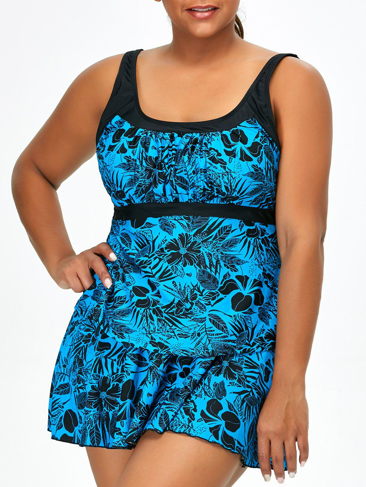 Plus Size Floral Three-Piece SwimwearWOMEN<br><br>Size: 4XL; Color: PEARL LAKE BLUE; Gender: For Women; Swimwear Type: Tankini; Material: Polyester; Bra Style: Padded; Support Type: Wire Free; Pattern Type: Floral; Waist: High Waisted; Weight: 0.360kg; Package Contents: 1 x Tank Top  1 x Briefs  1 x Skirt;