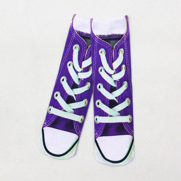 Canvas Shoes 3D Printed Crazy SocksACCESSORIES<br><br>Color: PURPLE; Type: Socks; Group: Adult; Gender: For Women; Style: Fashion; Pattern Type: Others; Material: Spandex; Length(CM): 32CM; Weight: 0.150kg; Package Contents: 1 x Socks(Pair);