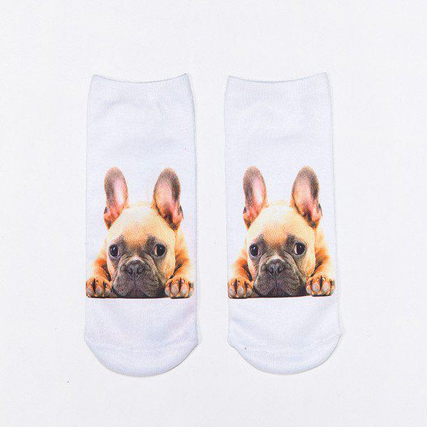 French Bulldog 3D Printed Crazy SocksACCESSORIES<br><br>Color: WHITE; Type: Socks; Group: Adult; Gender: For Women; Style: Fashion; Pattern Type: Animal; Material: Spandex; Length(CM): 22CM; Width(CM): 8CM; Weight: 0.100kg; Package Contents: 1 x Socks(Pair);