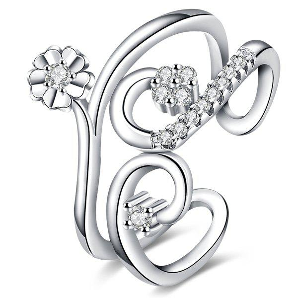 Floral Rhinestone RingJEWELRY<br><br>Size: ONE-SIZE; Color: SILVER; Gender: For Women; Metal Type: Alloy; Style: Trendy; Shape/Pattern: Floral; Diameter: 17MM; Weight: 0.030kg; Package Contents: 1 x Ring;
