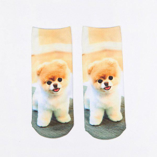 Little Pomeranian 3D Printed Crazy SocksACCESSORIES<br><br>Color: LIGHT BROWN; Type: Socks; Group: Adult; Gender: For Women; Style: Fashion; Pattern Type: Animal; Material: Spandex; Length(CM): 22CM; Width(CM): 8CM; Weight: 0.100kg; Package Contents: 1 x Socks(Pair);