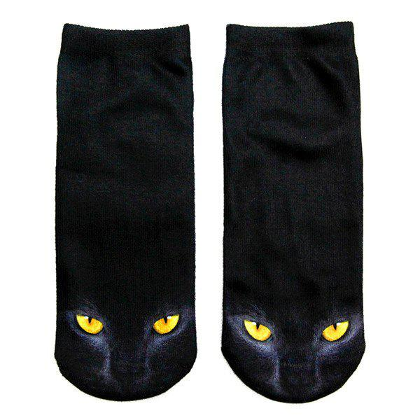 3D Black Cat Printed Crazy  Ankle SocksACCESSORIES<br><br>Color: BLACK; Type: Socks; Group: Adult; Gender: For Women; Style: Fashion; Pattern Type: Animal; Material: Spandex; Weight: 0.100kg; Package Contents: 1 x Socks(Pair);