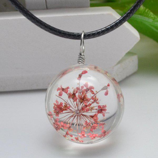 Dried Flower Heady Glass Ball Pendant NecklaceJEWELRY<br><br>Color: RED; Item Type: Pendant Necklace; Gender: For Women; Metal Type: Alloy; Style: Trendy; Shape/Pattern: Ball; Length: 42+5cm; Weight: 0.060kg; Package Contents: 1 x Necklace;