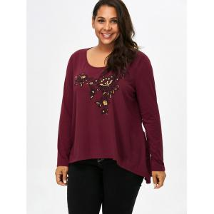 Scoop Neck Floral Plus Size Tee - CLARET 4XL