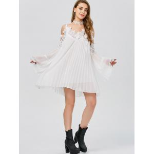 Long Sleeve Pleated Cold Shoulder Cocktail Dress - WHITE S