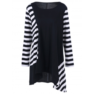 Plus Size Striped Color Block Asymmetric T-Shirt