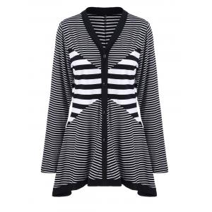 Plus Size Buttoned Striped Asymmetric Cardigan - Stripe - Xl