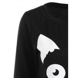 Sweat-shirt à Motif Chaton - Noir XL