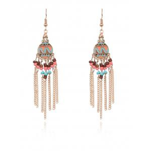 Statement Beads Chain Tassel Drop Earrings - Golden