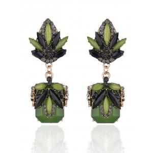 Rhinestone Fake Jade Drop Earrings
