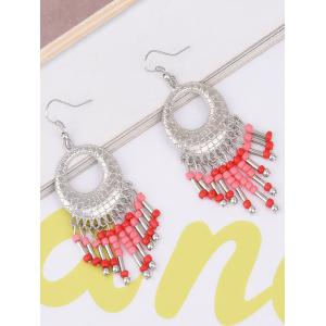Statement Hollow Out Beads Hook Earrings - Red - 2xl