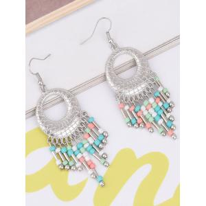 Statement Hollow Out Beads Hook Earrings - Colorful