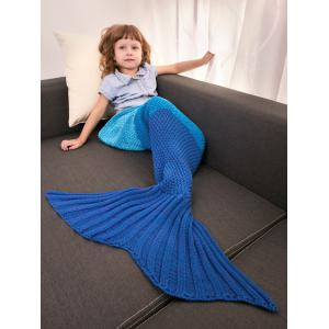 Color Block Warm Mermaid Free Knitted Blankets For Kids