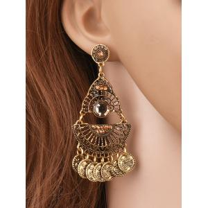 Coin Tassel Hollowed Geometry Earrings - Golden
