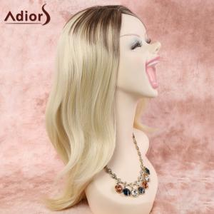 Stylish Long Layered Side Parting Capless Blonde Mixed Synthetic Wig For Women - COLORMIX