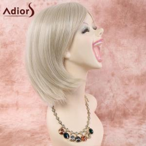 Short Straight Neat Bang Heat Resistant Fiber Wig - OFF WHITE