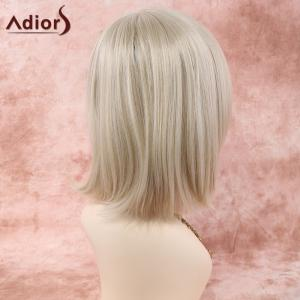 Short Straight Neat Bang Heat Resistant Fiber Wig - OFF-WHITE