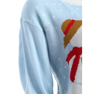 Funny Snowman Pattern Christmas Cute Plus Size Sweater - SKY BLUE 3XL