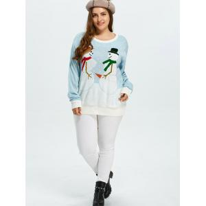 Funny Snowman Pattern Christmas Cute Plus Size Sweater -