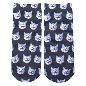 3D Yawn Cat Head Printed Crazy Ankle Socks