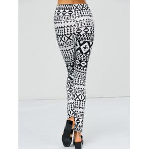 Strench Two Tone Geometrical Bodycon Leggings - WHITE AND BLACK XL
