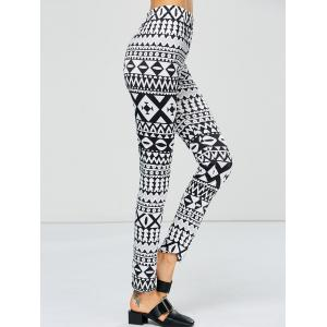 Strench Two Tone Geometrical Bodycon Leggings - WHITE AND BLACK L