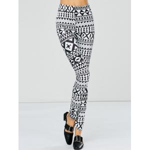 Strench Two Tone Geometrical Bodycon Leggings - White And Black - S