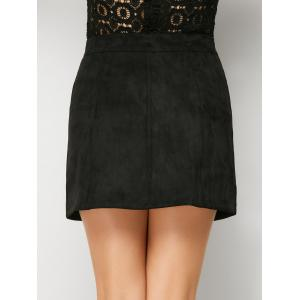 Mini Suede Button Up Skirt - BLACK S