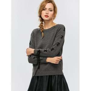 Crew Neck Lace-Up Sweater - Gray - M