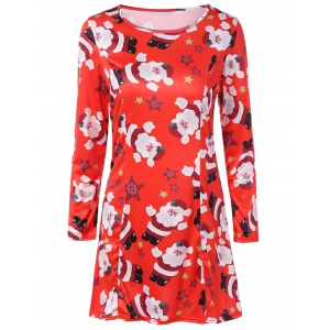 Christmas Santa Print Long Sleeve Dress - Red - S