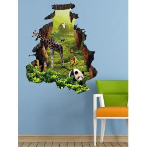 Removable Jungle 3D Animal Nature Landscape Living Room Wall Stickers