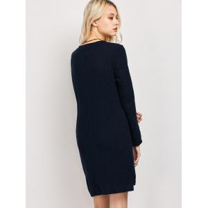 Plus Size Long Sleeve Ribbed Jumper Casual Knit Dress -